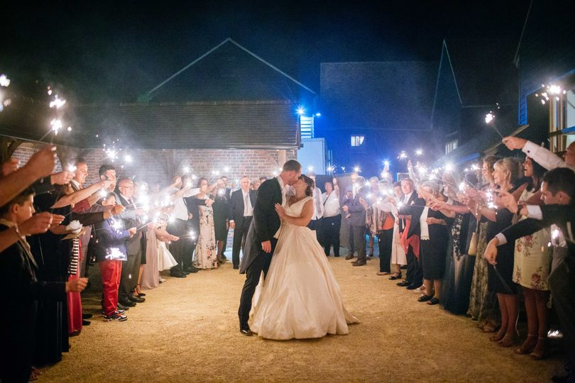 Sparklers in the courtyard