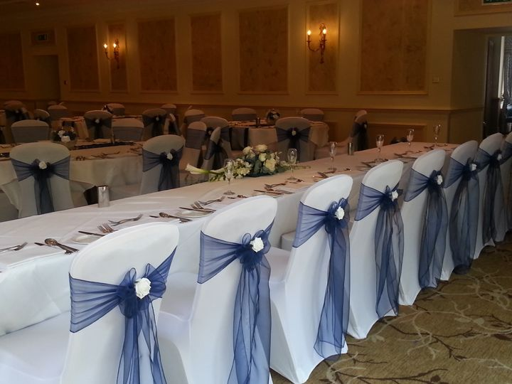 Navy blue organza, white rose