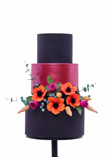 burgandy black 3 tier boho wedding cake 4 279123 162730103375962