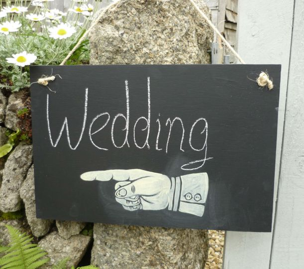 Pointy hand chalkboard sign