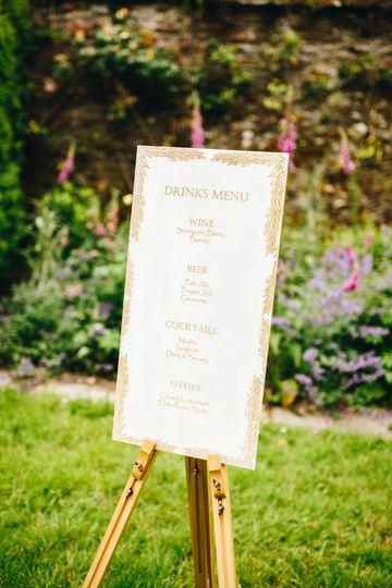 Engraved wood drinks menu