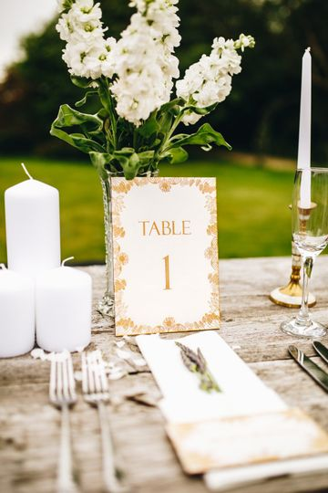 Engraved wood table number