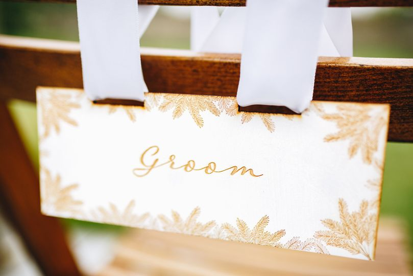Groom's engraved wooden chair back