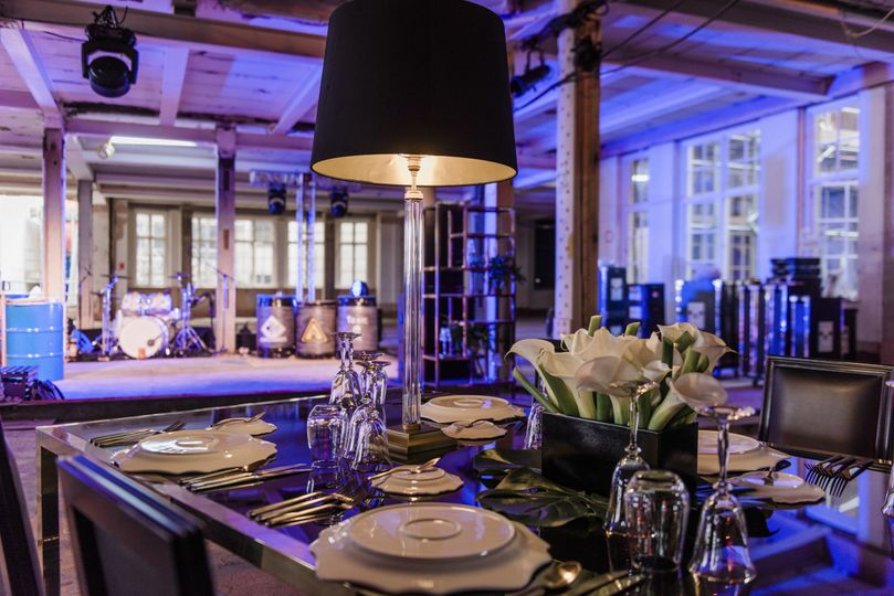 Warehouse chic wedding reception
