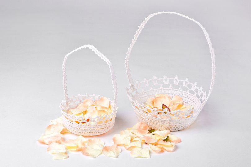Lacey crocheted flower basket