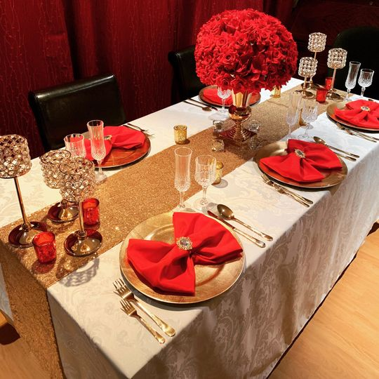 Red, gold & ivory decorations