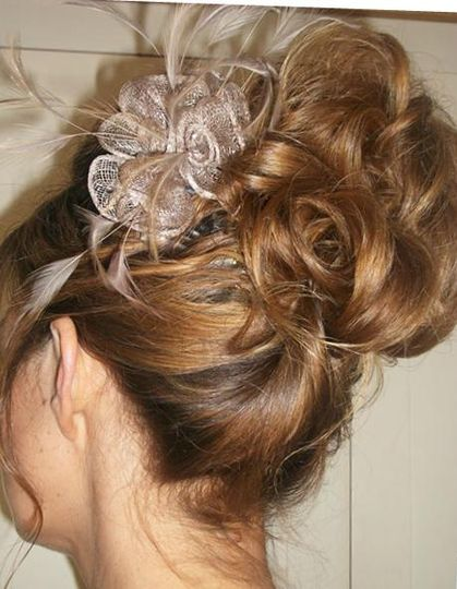Updo with fascinator hair piece