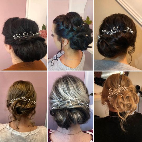 A collage of wedding hairstyles
