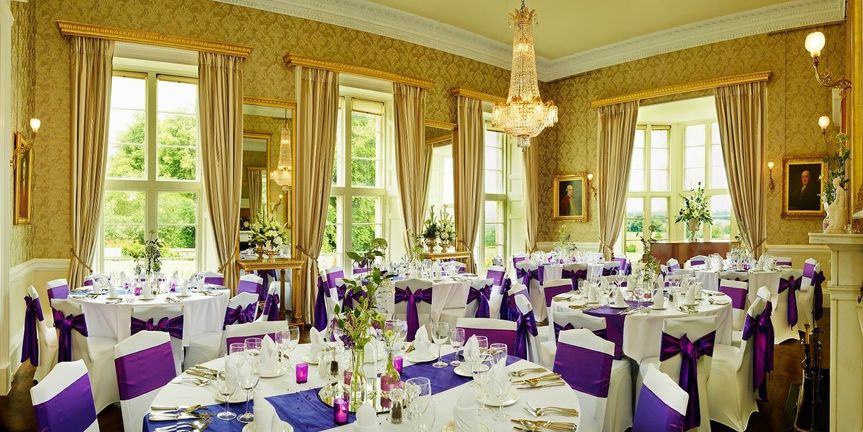 Large drawing room wedding reception set up