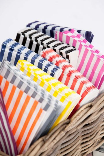 Rainbow of paper bags