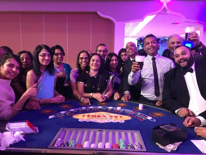 Wedding guests at the pop-up casino