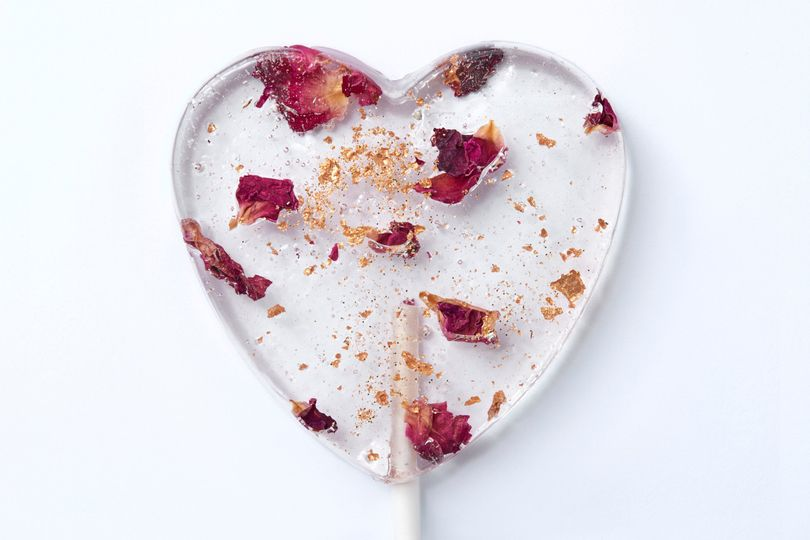Edible Damask Rose Petal Lollipops
