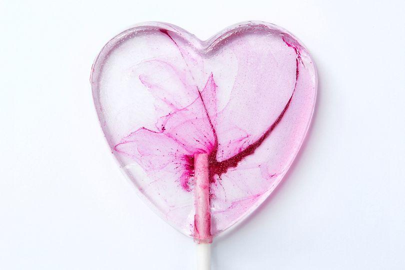 Watercolour Love Heart Lollipops