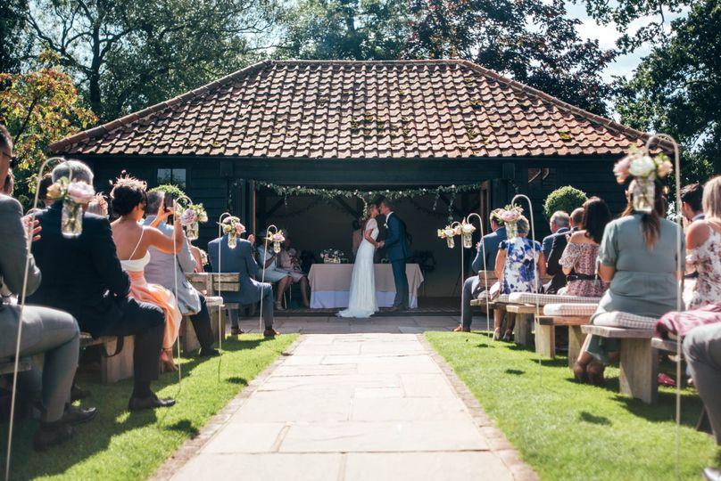 Outdoor ceremonies at The Saddlery, Blake Hall Weddings