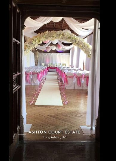 Drapes and elegant floral arches