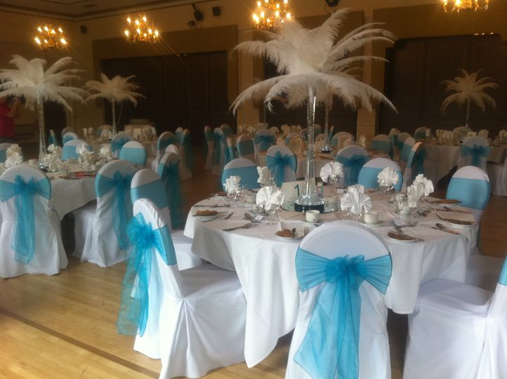Feather Centrepieces and Chair Covers