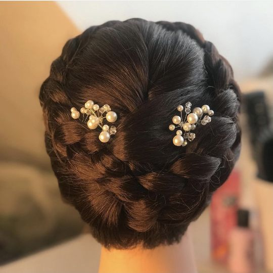 Braided updo with hair pearls