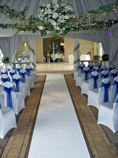 Friern Manor Country Hotel (Marquee) White Stretch Lycra Chair Covers with Colbalt Blue Organza...