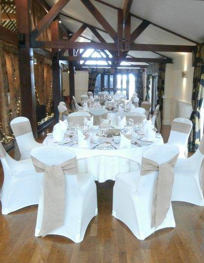 Channels Golf Club Ivory Stretch Lycra Chair Covers with Hessian Sashes