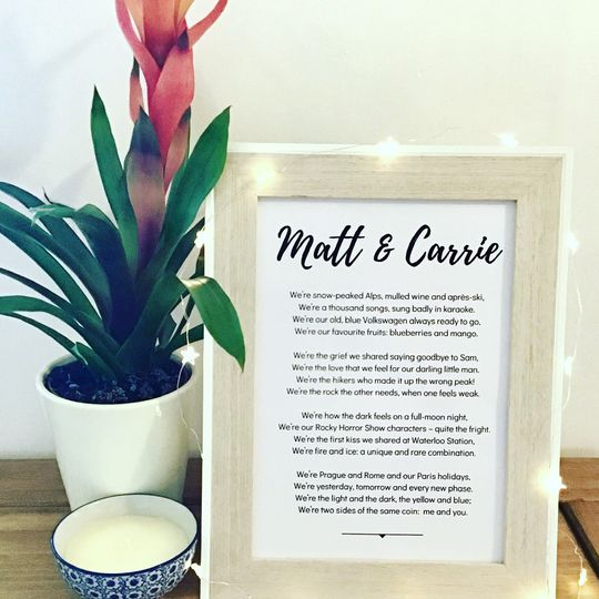 Personalised wedding reading