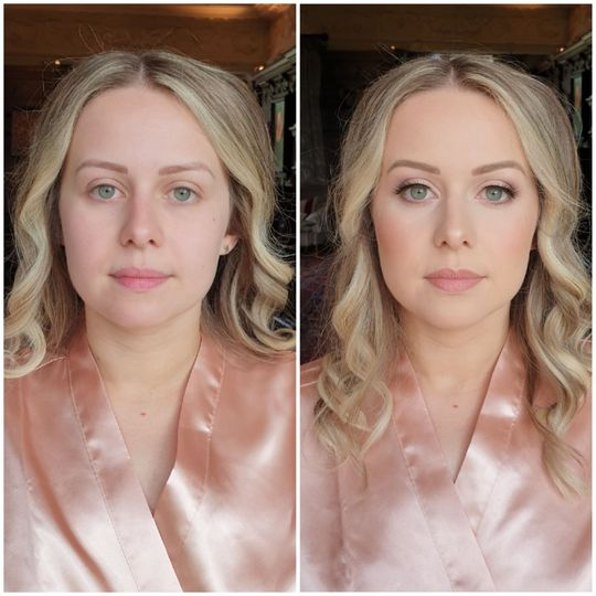 Bridal makeup with pink tones