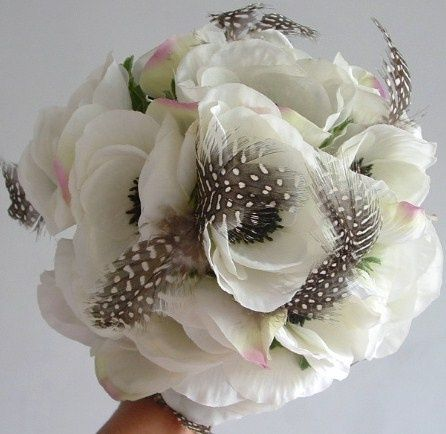 Anemone and Feather Bouquet