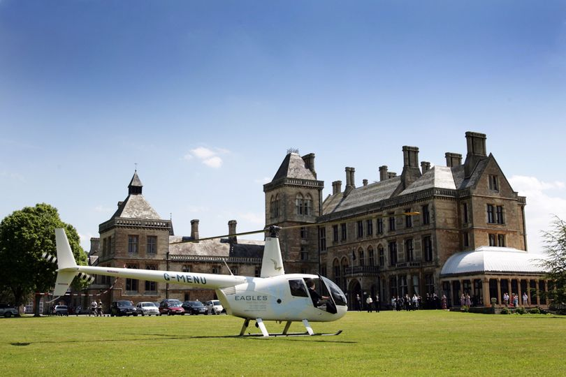 Helicopter on the grounds of Walton Hall