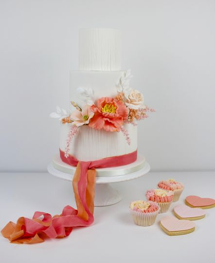 Textured with sugar flowers