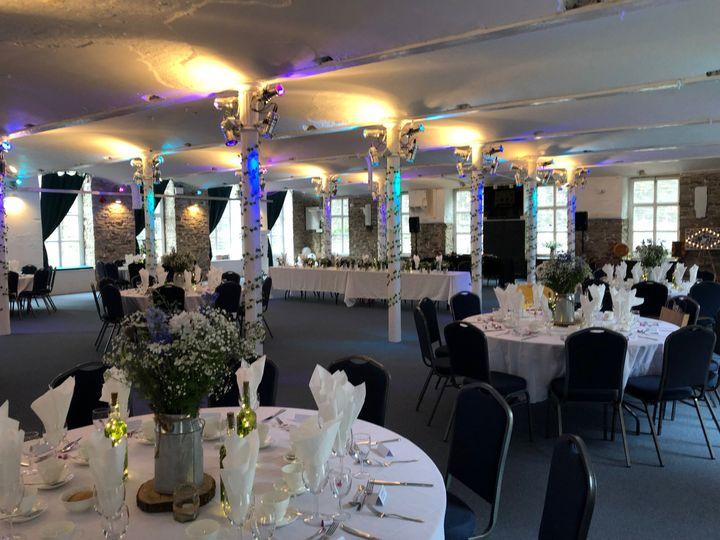 Warehouse-chic wedding reception