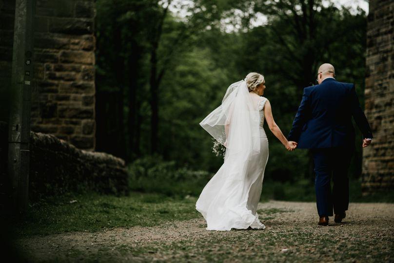 Newlyweds take a stroll