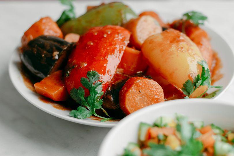 Cooked veg & fresh salad