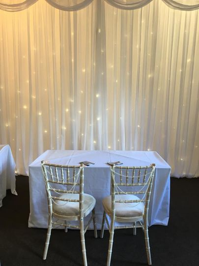 Star backdrops with pearl chair covers