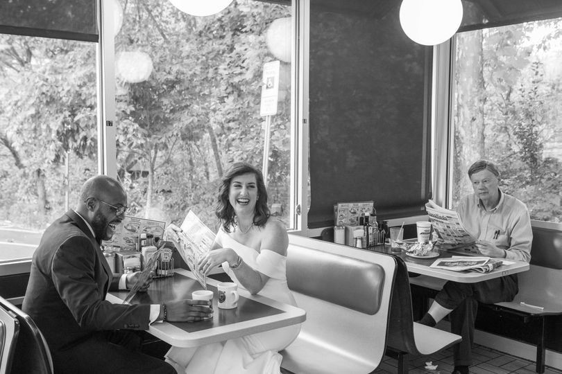 Newlyweds at a classic diner