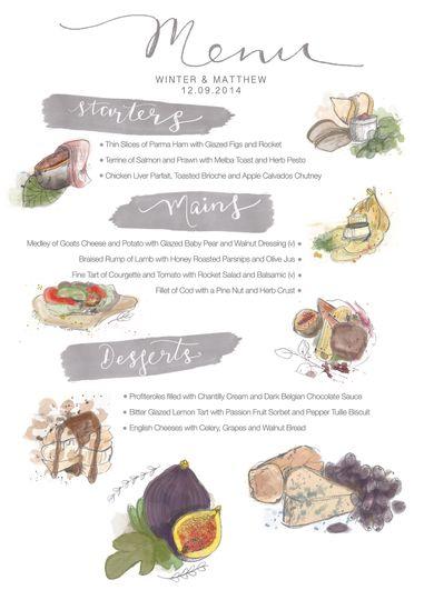 Hand painted menu