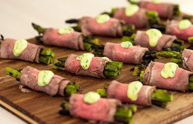 Roast Beef Wrapped around Chargrilled Asparagus