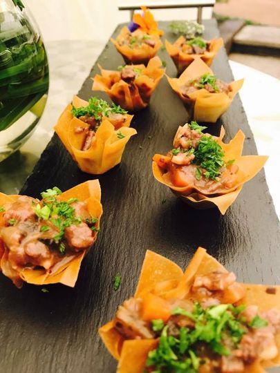 Canape style Beef Bourginon in Filo tartlets