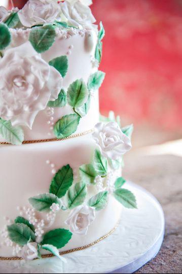 Rose garden wedding cake