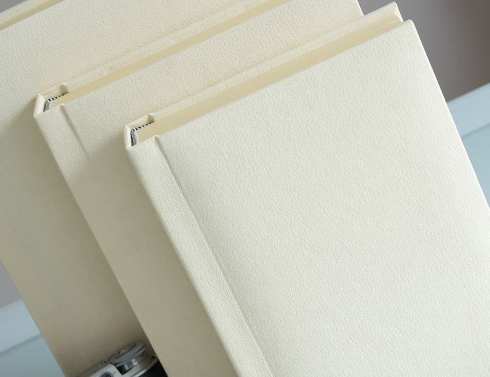 Cream slip-in wedding albums