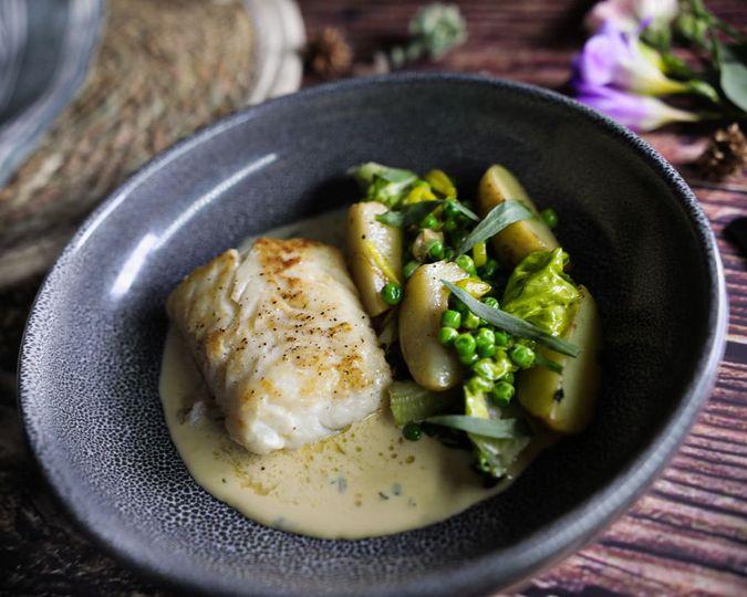 Cod white wine tarragon sauce