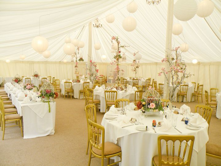 The waterside marquee at Prested Hall