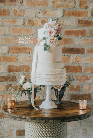 three tier watercolour ruffles wedding cake with roses by white rose cake design west yorkshire wedding cake maker 4 79612