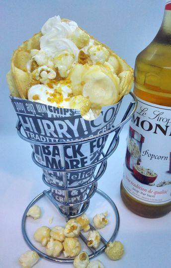 Toffee popcorn bubble waffle