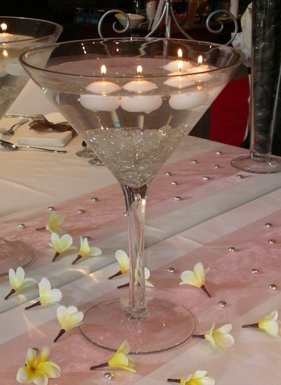 Small floating candle centrepiece