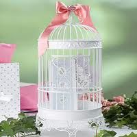 Bird cage centrepiece with matching ribbon