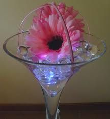 Martini glass with water crystals & flowers
