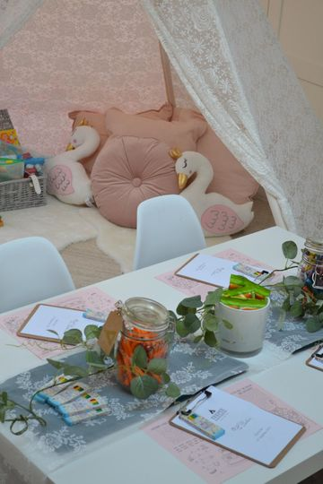 Activity table for kids at weddings