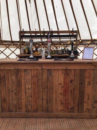 Vintage bar in a yurt