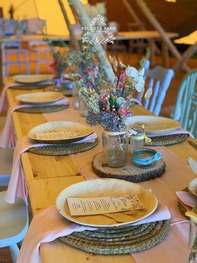 Dried flowers & pastel seating arrangements