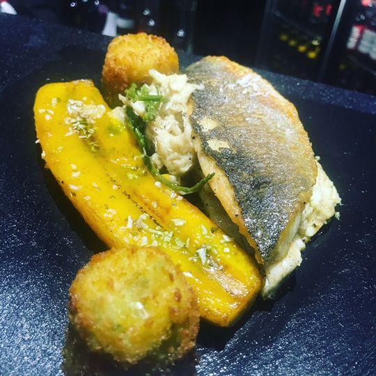 Seabass, crab & plantain
