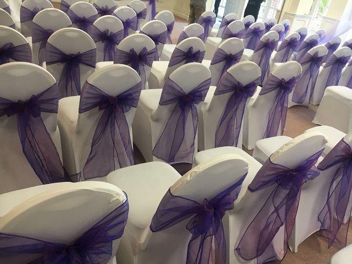 Purple organza sashes